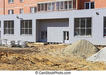 façade bâtiment, construction, sous