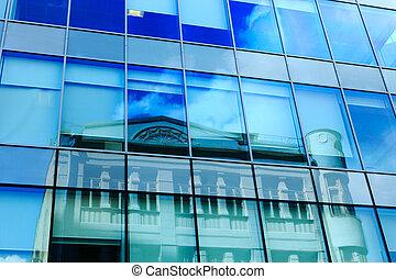 façade, bâtiment, moderne, bureau