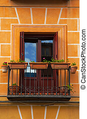 façade bâtiment, petit, balcon