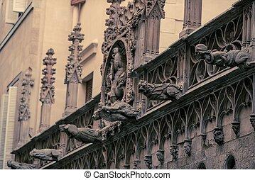façade, bâtiment, vieux, détails