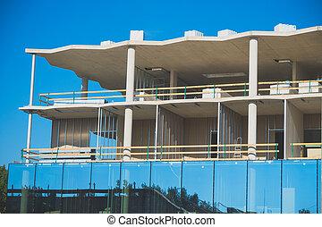 façade, construction., bâtiment., sous, appartement, nouveau, moderne