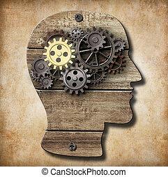 fait, or, métal, une, cerveau, rouillé, engrenages, modèle