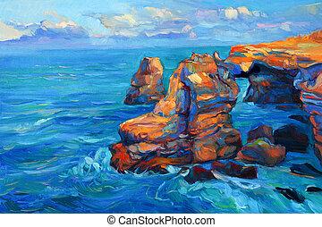falaises, océan