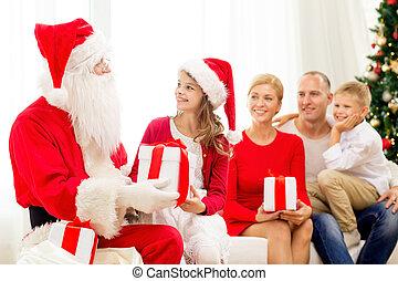 famille, claus, dons, santa, maison, sourire