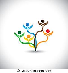 famille, eco, -, concept., arbre, vecteur, collaboration, icône