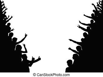 fan., silhouette, vecteur, gens, sides., foule, audience