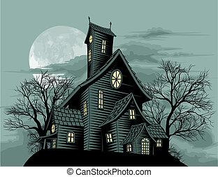 fantôme, maison, scène, terrifiant, hanté, illustration