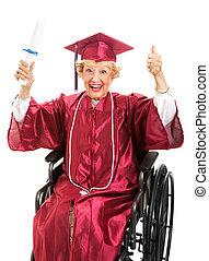 fauteuil roulant, personnes agées, diplômé