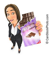 femme affaires, barre chocolat, 3d, tenue