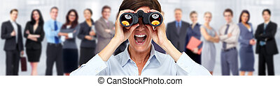 femme, binoculars., business