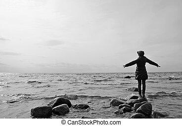 femme, ciel, rivage, soir, mer, morose