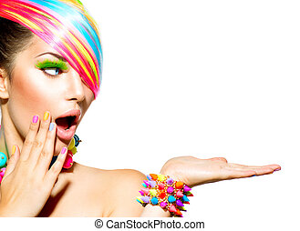 femme, coloré, cheveux, beauté, maquillage, clous, accessoires