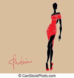 femme, dress., mode, rouges
