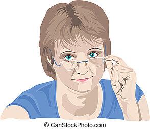 femme, elle, sur, doigts, regarder, mûrir, lunettes
