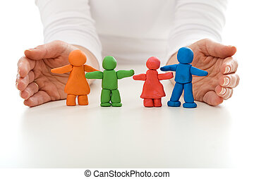 femme, famille, gens, argile, protégé, mains