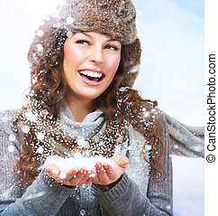 femme, girl., souffler, hiver, neige, noël