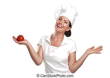 femme, ingrédients, nourriture, projection, jeune chef, italien