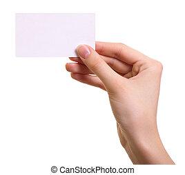 femme, isolé, main, papier, fond, blanc, carte