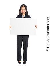 femme, isola, whiteboard, portrait affaires, prendre, vide, asiatique