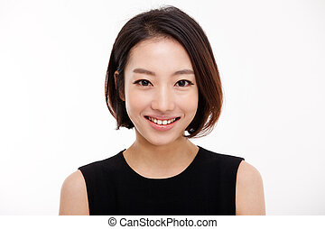 femme, joli, business, haut, jeune, portrait, fin, asiatique