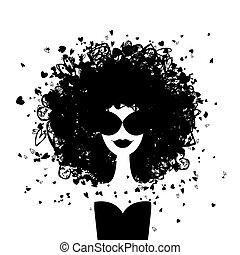 femme, mode, ton, portrait, conception
