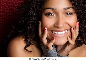 femme, noir, rire