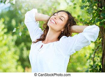 femme, outdoor., jouir de, jeune, nature, beau