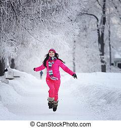 femme, parc, hiver