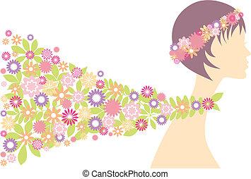 femme, printemps