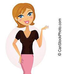 femme, quelque chose, business, /, heureux, présentation, projection, marques