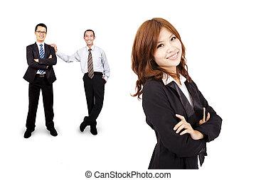 femme, reussite, business, confiant, asiatique, équipe, sourire