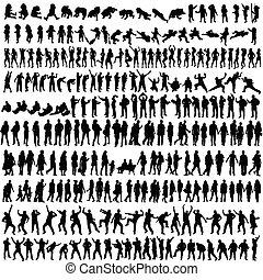 femme, silhouette, gens, vecteur, bébé, homme