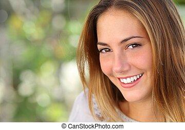 femme, sourire, blanchir, parfait, beau