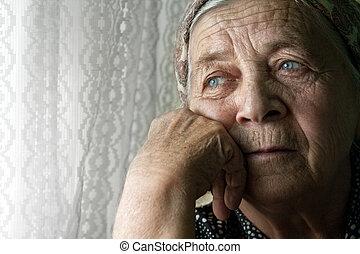 femme, vieux, songeur, triste, solitaire, personne agee