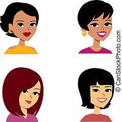 femmes, dessin animé, avatar, multi-ethnique