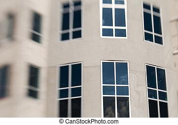 fenetres, détail bâtiment, bureau