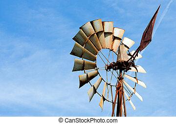 ferme moulin vent, rouillé, vieux, rural
