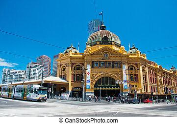 ferroviaire, rue, station, flinders, australie, melbourne