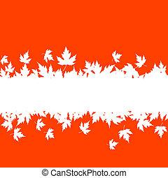 feuilles automne, frontière, planche, fond