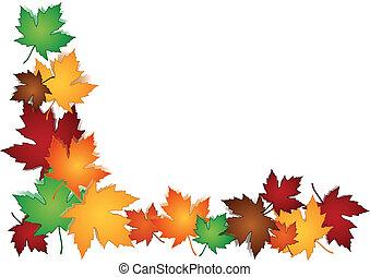 feuilles, frontière, érable, coloré
