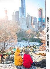 filles, central, adorable, york, parc, peu, ville, nouveau