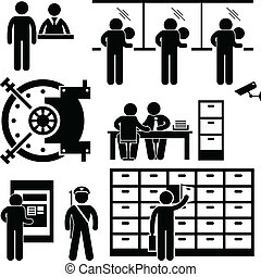 finance, ouvrier, banque, business, personnel
