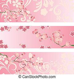 fleur, cerise, ensemble, bannière