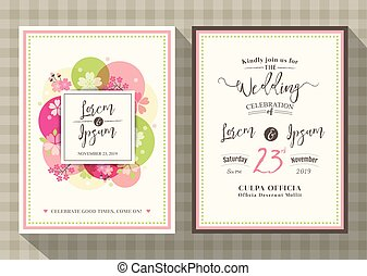 fleur, cerise, invitation, gabarit, mariage, floral, carte
