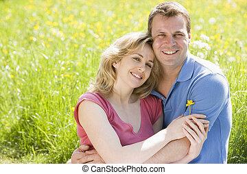 fleur, séance, couple, tenue, dehors, sourire