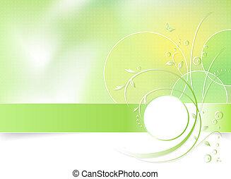 fleur source, arrière-plan vert