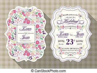 fleur, vendange, mariage, gabarit, invitation, carte