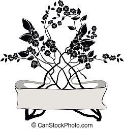 fleurs, blanc, élément, conception, noir