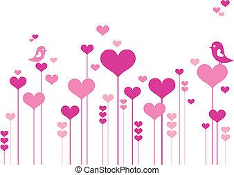 fleurs, coeur, oiseaux