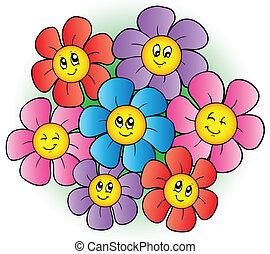 fleurs, groupe, dessin animé